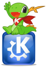 Konqi sitting on KDE logo.png