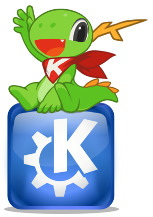KDE Applications - Image: Konqi sitting on KDE logo