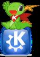 Konqi sitting on KDE logo.png
