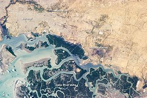 Indus River Delta - Image: Korangi and region, from space
