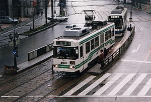 Transport in Japan - A streetcar in Kumamoto