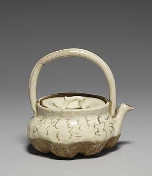 Ōtagaki Rengetsu - Rengetsu ware teapot for steeped tea (kyūsu) inscribed with a waka poem by Ōtagaki Rengetsu, stoneware with rice-straw-ash glaze, mid-19th century, late Edo period-early Meiji era (Walters Art Museum)