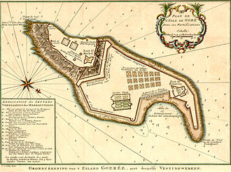 Gorée - Schley, Jacobus van der, 1715–1779. Island of Gorée and its fortifications
