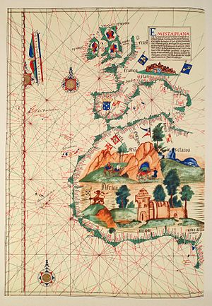 Portuguese Empire - Map of Western Africa by Lázaro Luis (1563). The large castle in West Africa represents the São Jorge da Mina (Elmina castle).
