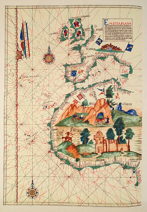 Map of Western Africa by Lazaro Luis (1563). The large castle in West Africa represents the Sao Jorge da Mina (Elmina castle). Lazaro Luis 1563.jpg