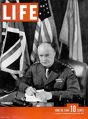 Life (magazine) - Cover of the June 19, 1944, issue of Life with Gen. Dwight D. Eisenhower. The issue contained 10 frames by Robert Capa of the Normandy invasion.