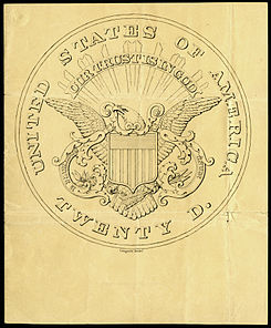 Hand-drawn design for the reverse of the $20 Liberty Head with a proposed (but not adopted) version of the motto.