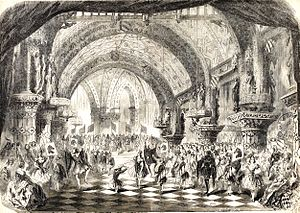 La magicienne - Stage setting for the Act 2 ballet of human chess pieces