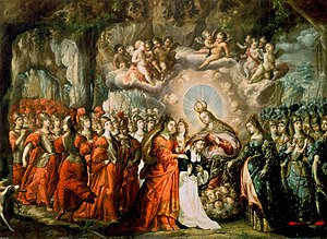 Cristóbal de Villalpando - The Lactación de Santo Domingo, painted near the end of the 17th century.