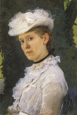 George Darwin - Lady George Darwin, pastel, Cecilia Beaux, 1889