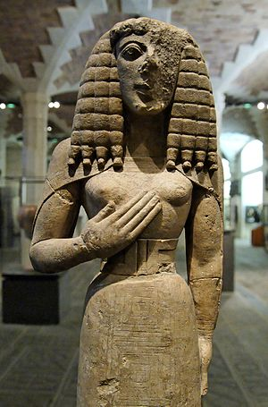 Despoina - Lady of Auxerre Louvre-An Archaic (640 BC) image from Crete, probably a version of the Minoan Goddess identified with Kore.