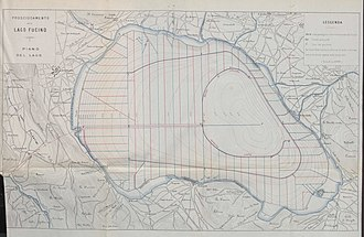Fucine Lake - Drainage plan printed in 1875