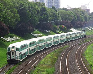 Commuter rail in North America - A GO Transit train on the Lakeshore West line in Toronto.