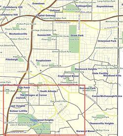 location of Lakewood Heights in southeast Atlanta