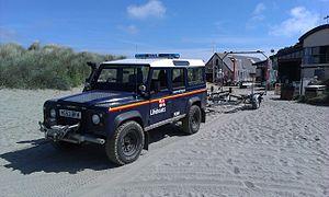 Cardigan Lifeboat Station - Image: Landrover at Cardigan RNLI station
