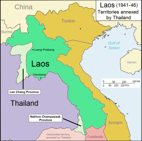 Parts of Laos annexed by Thailand (1941-1946) Laos 1941-46.png