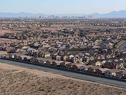View of suburbs in southwest Enterprise, with the Strip visible in the distance