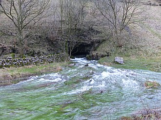 River Lathkill - Lathkill Head Cave, the source of the river in wet weather