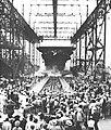 Launch of USS Leyte (CV-32) at Newport News Shipbuilding, Virginia (USA), on 23 August 1945.jpg