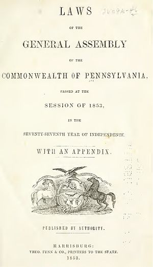 Pennsylvania General Assembly - Title page of the 1853 Laws of Pennsylvania