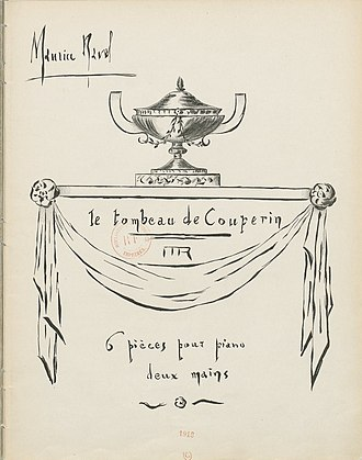 Le tombeau de Couperin - Cover of the first printed edition designed by Ravel himself
