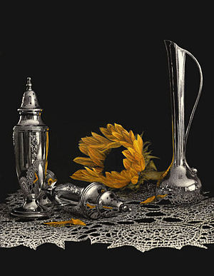 Scratchboard - Sunflower and Silver by Diana Lee