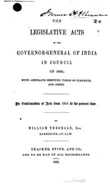 Legislative Acts of the Governor General of India in Council, 1868.djvu