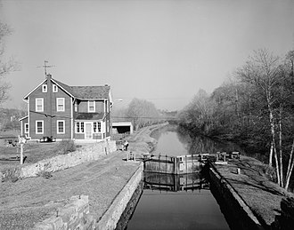 Lehigh Canal - The canal as seen from Guard Lock 8 and Lockhouse, Island Park Road, Glendon, Northampton County, Pennsylvania