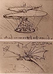 Dessin de L. de Vinci pour une machine volante à voilure tournante