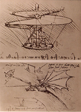 Aeronautics - Designs for flying machines by Leonardo da Vinci, circa 1490