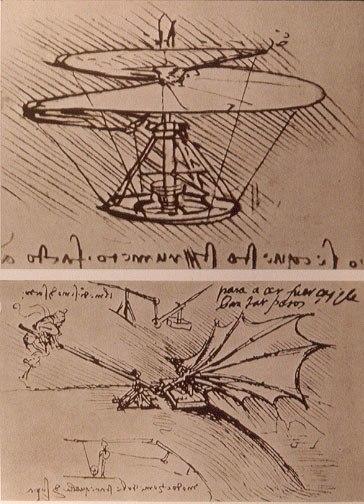 Leonardo da Vinci helicopter and lifting wing