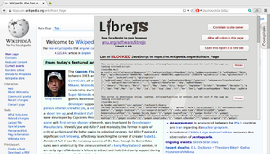 GNU LibreJS - Image: Libre JS on Wikipedia