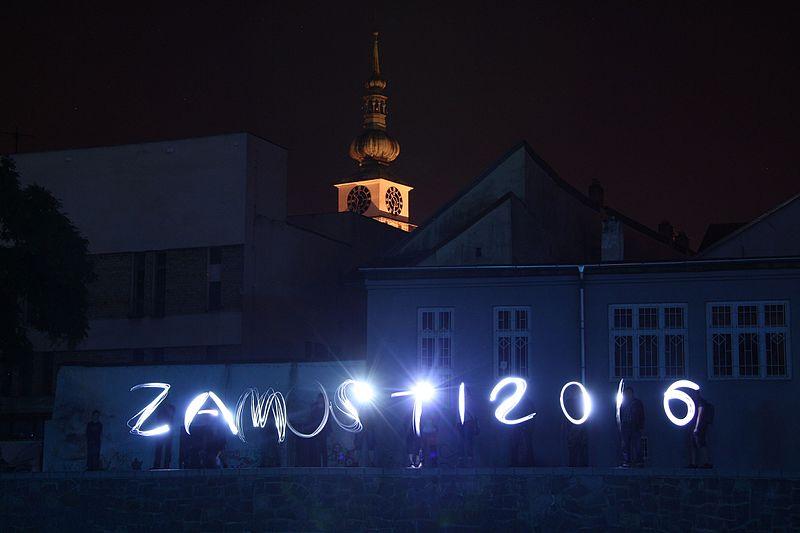 File:Light painting word Zamosti 2016 at geocaching event Bezmostí at Zámostí 2016 in Třebíč, Třebíč District.jpg