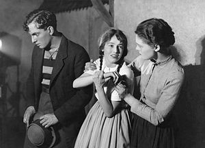 Liliom - Joseph Schildkraut (Liliom), Evelyn Chard (Louise) and Eva Le Gallienne (Julie) in the 1921 Theatre Guild production