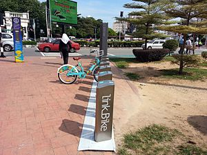 Cycling in Penang Island - A LinkBike station near Komtar in George Town. LinkBike, a public bicycle sharing service, was launched in 2016.