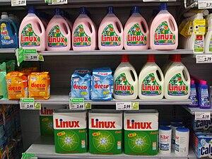 Deutsch: Linux Waschmittel, verschiedene Mitte...