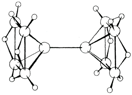 B10H16 showing in the middle a bond directly between two boron atoms without terminal hydrogens, a feature not previously seen in other boron hydrides. Lipscomb b10-h16-horizontal.png