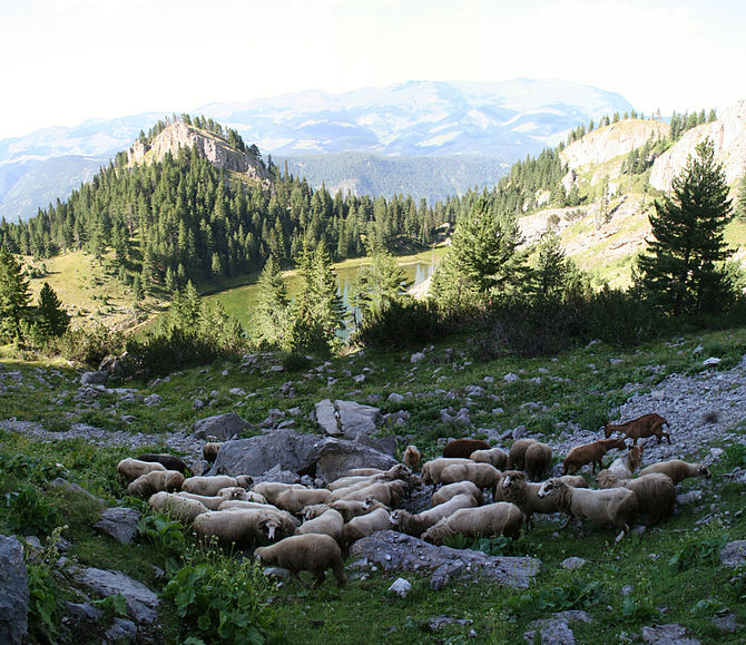 English: above The Red Stone Lake-Rugova Valley