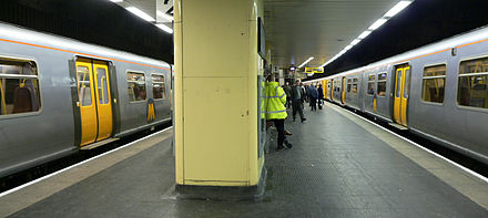 The Merseyrail network has extensive underground sections within the city centre. Liverpool Central is the UK's busiest underground station outside London Liverpool Central - Northern Line - Platforms 1 and 2 - 02.jpg