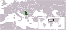 Location of Serbia in the world.
