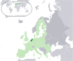 Ibùdó ilẹ̀  Nẹ́dálándì  (dark green) – on the European continent  (light green & dark grey) – in the European Union  (light green)  —  [Legend]