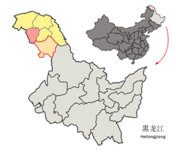 Location of Huzhong (red) in Da Hinggan Ling Prefecture (yellow), Heilongjiang province, and the PRC