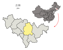 Location Jilin City (yellow) in Jilin Province (light grey) and China