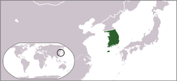 Location of the southern portion of the Korean Peninsula