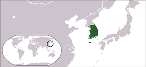 United States Army Military Government in Korea - Location of the southern portion of the Korean Peninsula.