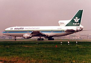 Saudia - Saudi Arabian Airlines Lockheed L-1011 TriStar at London Heathrow Airport in 1987