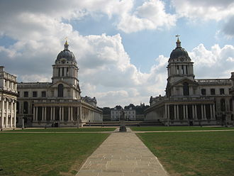 Old Royal Naval College - The Chapel is in Queen Mary Court (left) and the Painted Hall is in King William Court (right). The domes are above the entrances.