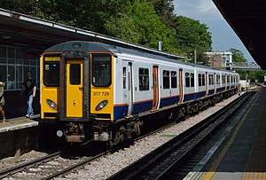 Romford–Upminster line - Image: London Overground train at Upminster