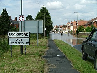Longford, Gloucestershire - Image: Longford village flooding on Tewkesbury Road (A38) geograph.org.uk 502922