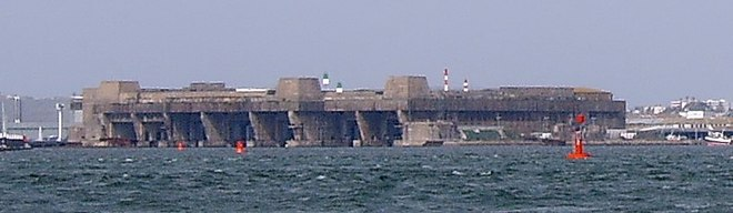 The German submarine base in Lorient, Brittany Lorient submarine base 2007 2.jpg